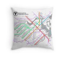MBTA Boston Subway - The T (light background) Throw Pillow