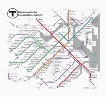 MBTA Boston Subway - The T (light background) One Piece - Long Sleeve