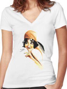 Silent Film Star Women's Fitted V-Neck T-Shirt