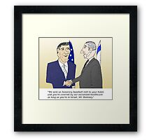 Caricatured Bibi and Romney Framed Print
