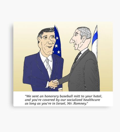 Caricatured Bibi and Romney Canvas Print