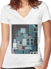 The Greyscale Collection no.8 Women's Fitted V-Neck T-Shirt
