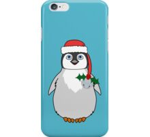 Christmas Penguin with Red Santa Hat, Holly & Silver Jingle Bell iPhone Case/Skin