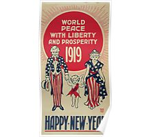 World peace with liberty and prosperity 1919 Happy new year Poster
