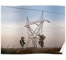 A large steel based electric pylon carrying high tension power lines Poster