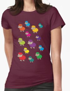 Colourful sheep Womens Fitted T-Shirt
