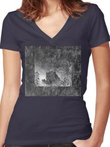 Rocks in the waterfall Women's Fitted V-Neck T-Shirt