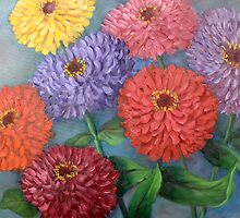 State Fair Zinnias by Randy  Burns