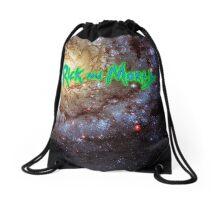 Rick and Morty against Yellow Galaxy Drawstring Bag
