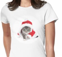 Christmas Kitty Womens Fitted T-Shirt