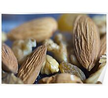 Macro shots of various dry fruit items such as Almonds, Walnuts, and Raisins Poster