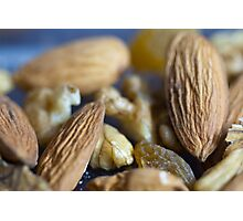 Macro shots of various dry fruit items such as Almonds, Walnuts, and Raisins Photographic Print
