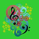Music swirl iPhone case (green) by Vicki Field