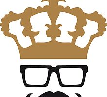 mustache nerd geek hornbrille Crown King King Cool by Style-O-Mat