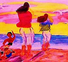Fun on the beach, watercolor by Anna  Lewis