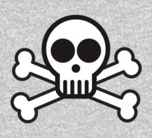 Skull with Crossbones (Black & White) Kids Clothes