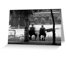 Men on the bench Greeting Card