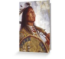 Warrior & his Winchester, Blackfoot, Native American Art, James Ayers Studios Greeting Card