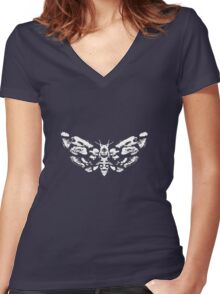 Death's Head Rorschach (inverted) Women's Fitted V-Neck T-Shirt