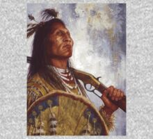 Warrior & his Winchester, Blackfoot, Native American Art, James Ayers Studios One Piece - Long Sleeve