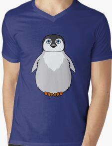 Natural Grey Baby Penguin Mens V-Neck T-Shirt