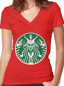 Red Cup Baphomet Women's Fitted V-Neck T-Shirt