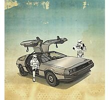lost searching for the DeathStarr_ 2 stormtroooper in A DELOREAN Photographic Print