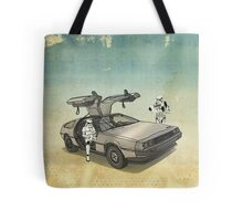 lost searching for the DeathStarr_ 2 stormtroooper in A DELOREAN Tote Bag