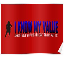 I KNOW MY VALUE - Blue Poster