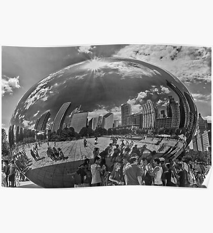 City in a Bubble B/W Poster
