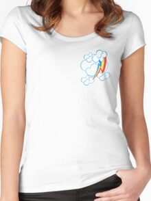 Rainbow Dash among the clouds Women's Fitted Scoop T-Shirt