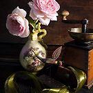Roses in Serpent Vase by kkmarais