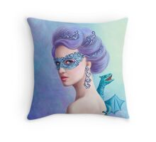 Fantasy winter woman, beautiful snow queen in mask with blue dragon Throw Pillow