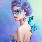 Fantasy winter woman, beautiful snow queen in mask with blue dragon by Alena Lazareva