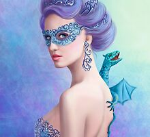 Fantasy winter woman, beautiful snow queen in mask with blue dragon by Alena Lazareva