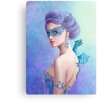 Fantasy winter woman, beautiful snow queen in mask with blue dragon Metal Print