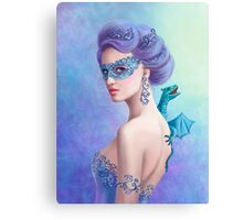 Fantasy winter woman, beautiful snow queen in mask with blue dragon Canvas Print