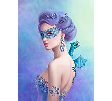Fantasy winter woman, beautiful snow queen in mask with blue dragon Photographic Print