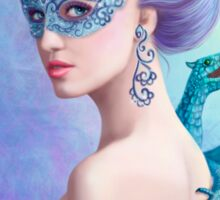 Fantasy winter woman, beautiful snow queen in mask with blue dragon Sticker