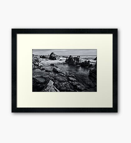 Black and White Rocks Framed Print