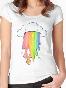 cute rainbow cloud  Women's Fitted Scoop T-Shirt