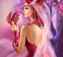 Beautiful fantasy woman queen and red dragon sakura background by Alena Lazareva