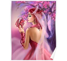 Beautiful fantasy woman queen and red dragon sakura background Poster