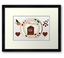 Coffee grinder and various design elements Framed Print