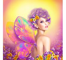 Beautiful girl fairy butterfly at pink and purple flower background Photographic Print