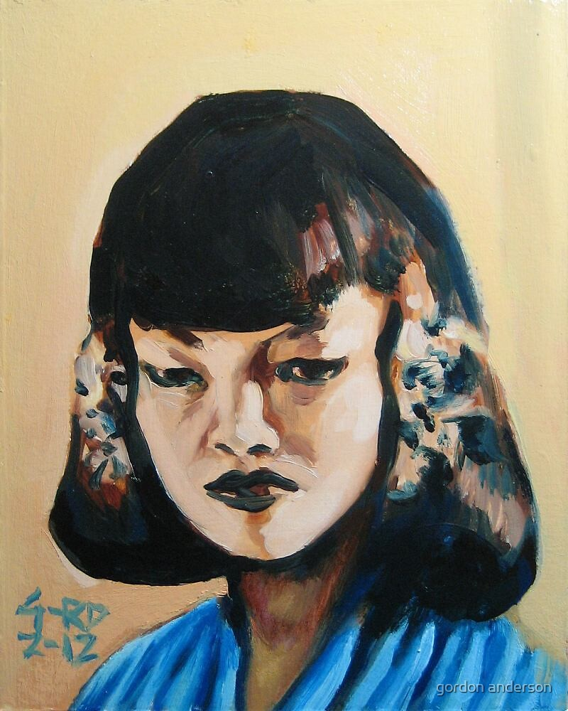 introspective girl in blue with brown hair by gordon anderson