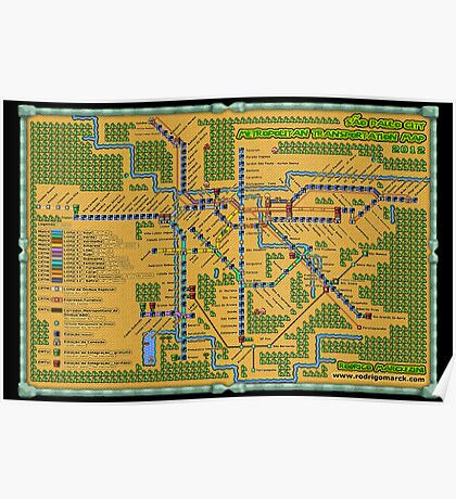 São Paulo City Metropolitan Transportation Map (Print Version) Poster