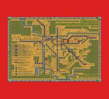 São Paulo City Metropolitan Transportation Map One Piece - Short Sleeve