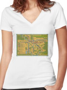 São Paulo City Metropolitan Transportation Map Women's Fitted V-Neck T-Shirt