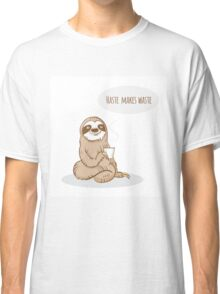 Card with sloth. Classic T-Shirt